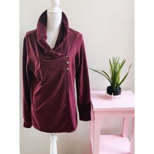 Danskin Wrap Burgundy Buttons Large Cardigan